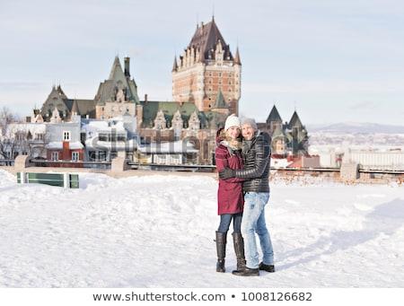 Dışında kış Quebec şehir aile Stok fotoğraf © Lopolo