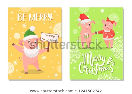 New Year Piglets Couples and Card Wishes Vector Stock photo © robuart
