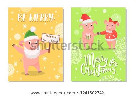 férfi · női · új · év · karácsony · boldog · új · évet · üdvözlet - stock fotó © robuart