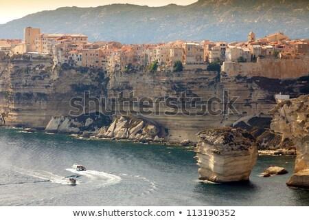 Sziklák Franciaország kilátás festői tájkép mediterrán Stock fotó © nito