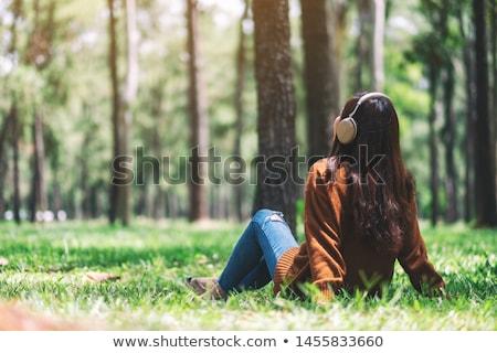 szép · szín · smink · gyönyörű · lány · csukott · szemmel · színes - stock fotó © anna_om