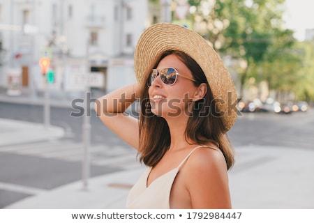 изображение привлекательный Lady костюм соломенной шляпе Сток-фото © deandrobot