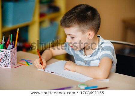 Jongen leerboek schrijven home onderwijs Stockfoto © dolgachov