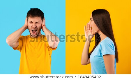 Man Scolding To His Wife Covering Ears Stock photo © AndreyPopov