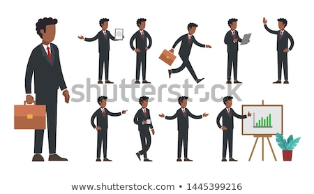 African American Businessman Cartoon Character With Briefcase Running On A Treadmill Stock photo © hittoon