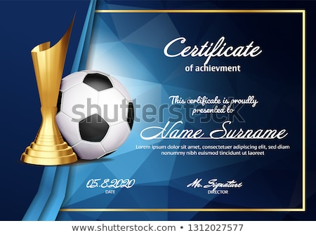 Soccer Game Certificate Diploma With Golden Cup Vector. Sport Vintage Appreciation. Modern Gift. Pri Stock photo © pikepicture