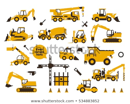 Tractor Working Machinery and Road Signs Icons Stock photo © robuart