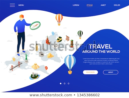 travel around the world   colorful isometric web banner stock photo © decorwithme