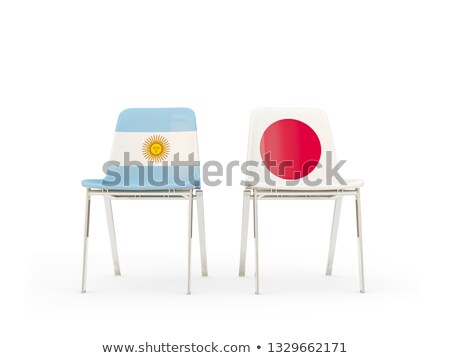 Two chairs with flags of Argentina and japan Stock photo © MikhailMishchenko