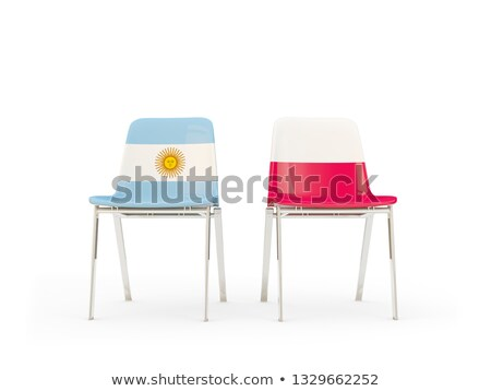 Two chairs with flags of Argentina and poland Stock photo © MikhailMishchenko