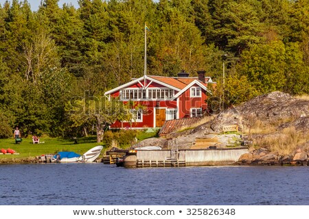 Bois chalet bateau île illustration plage Photo stock © colematt