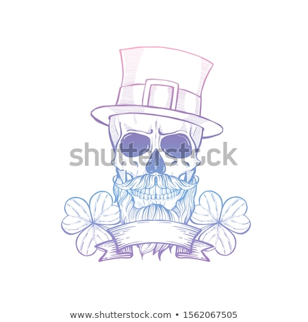 Hand drawn angry skull of leprechaun Stock photo © netkov1