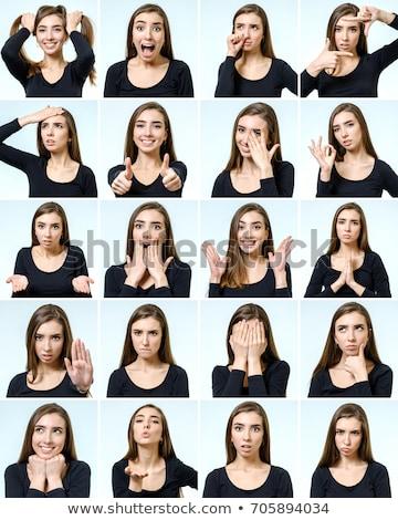 Menina diferente expressões faciais ilustração cara feliz Foto stock © colematt