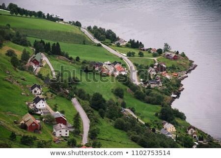 Pueblo Noruega vista paisaje rural Foto stock © Kotenko