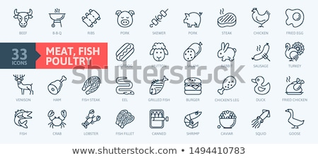 Beef and chicken meat, fish and shrimps. Stok fotoğraf © furmanphoto