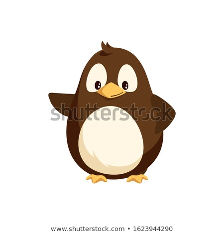 Penguin Waving Right Wing and Sending Greetings Stock photo © robuart