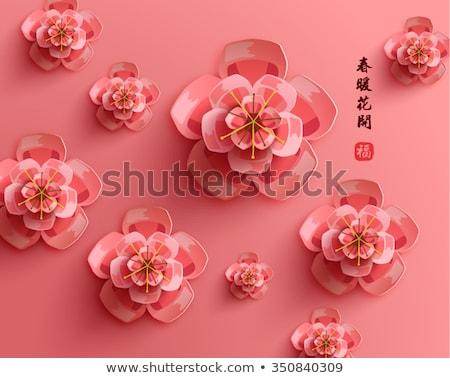 Asya pembe Japon sakura şablon örnek Stok fotoğraf © colematt