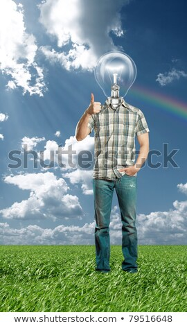 full length man shows well done outdoors Stock photo © leedsn