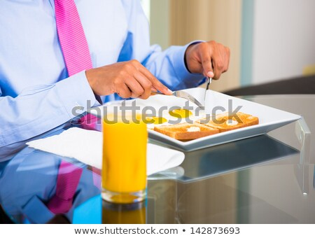 adam · yeme · çatal · bıçak · gıda - stok fotoğraf © dolgachov