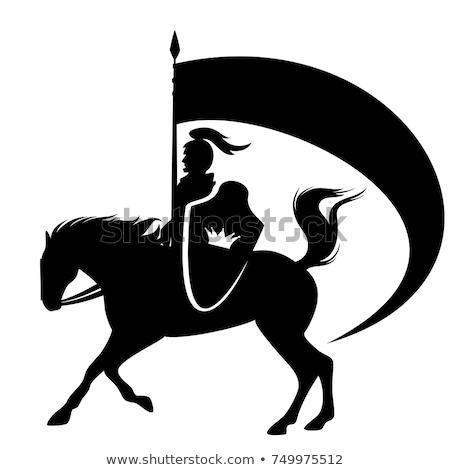 Medieval Knight on Horse Silhouette Stock photo © Krisdog