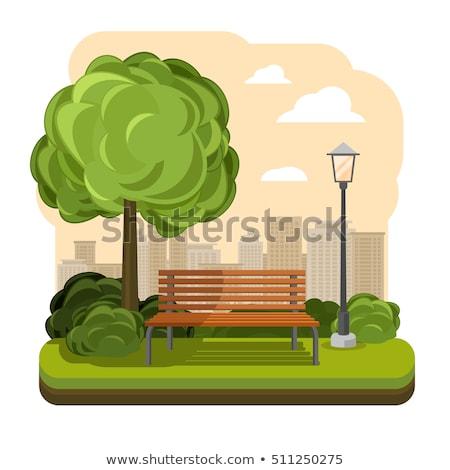 Voorjaar natuur park bank bomen lantaarn Stockfoto © robuart