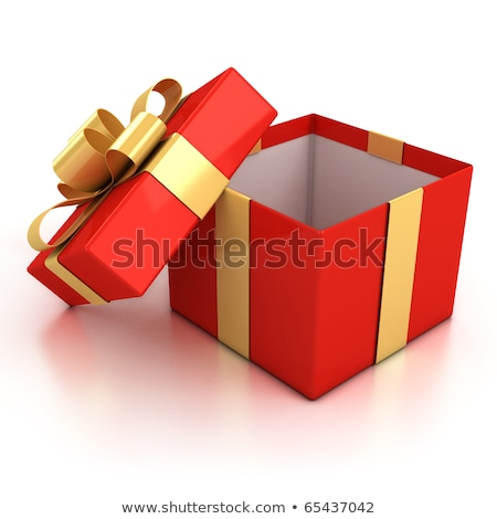open red box with golden bow on white background isolated 3d il stock photo © iserg