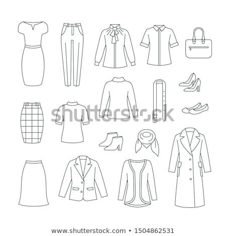 Zakenvrouw fundamenteel kleding schoenen lijn iconen Stockfoto © vectorikart