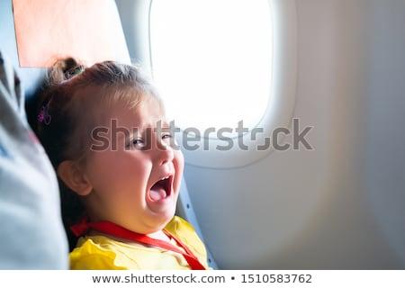 Lány sikít repülőgép kislány ül anya Stock fotó © AndreyPopov