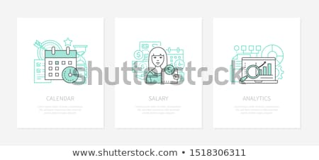 Wage calculation - line design style icons set Stock photo © Decorwithme