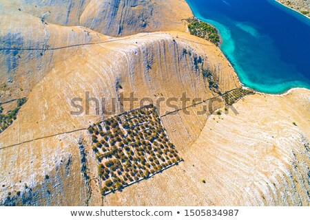 Aerial view of Kornat island drywalls and stone desert Stock photo © xbrchx
