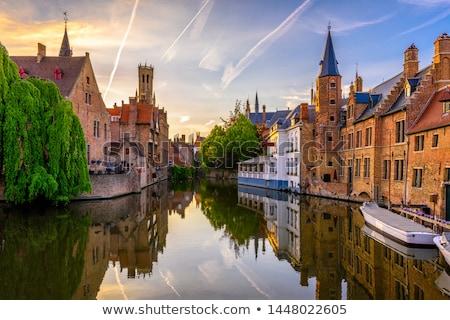 Ver canal Bélgica histórico casas água Foto stock © borisb17