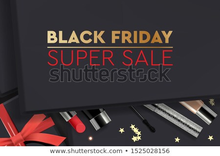 Black friday super verkoop zwarte geschenkdoos cosmetica Stockfoto © ikopylov