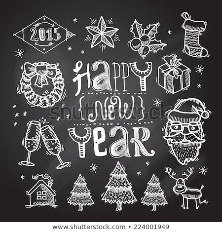 Christmas krans maretak champagne drinken Stockfoto © robuart