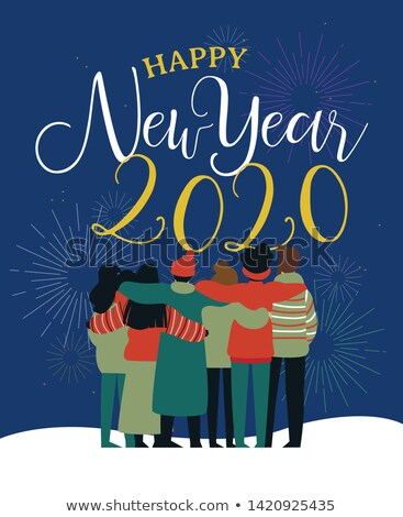 Happy New Year 2020 card of friend group hug Stock photo © cienpies