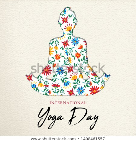 Yoga meditation pose made of colorful flowers Stock photo © cienpies