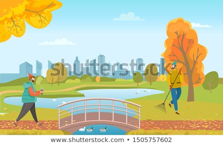Stock photo: People Walking in Autumn Park, Bridge Under Lake