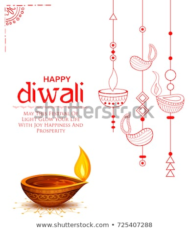 auspicious happy diwali diya lamp decoration design  Stock photo © SArts