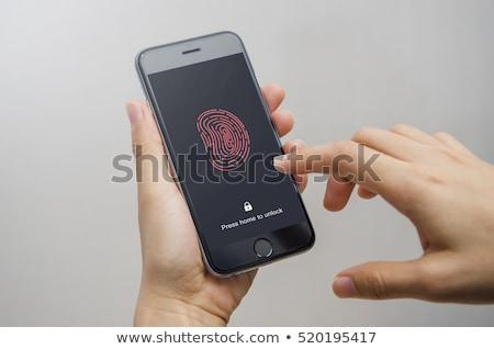 Fingerabdruck zugreifen Kennwort Frau Handy persönlichen Stock foto © benzoix