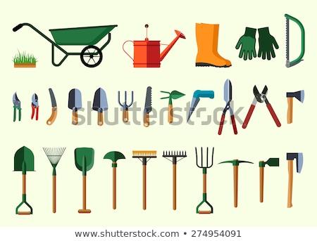 Gardener with tool working in garden icon design Stock photo © anbuch
