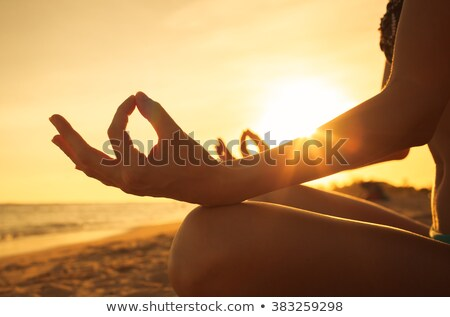 Wellness spa, vacation and yoga meditation concept. Young woman sitting in lotus position on the roc Stock photo © galitskaya