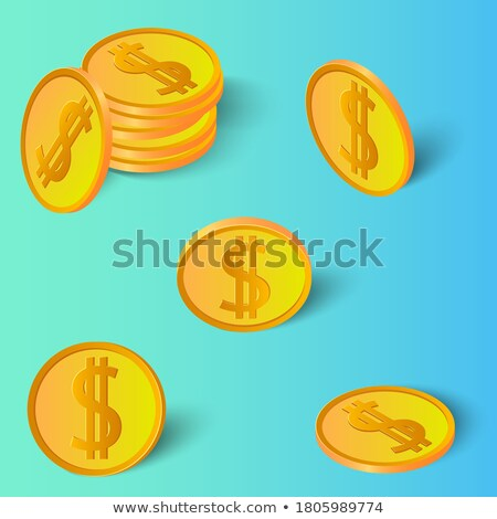 3D dollárjel szett arany zöld árnyék Stock fotó © jeff_hobrath