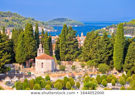 Vela Luka on Korcula island bay and cemetery view Stock photo © xbrchx