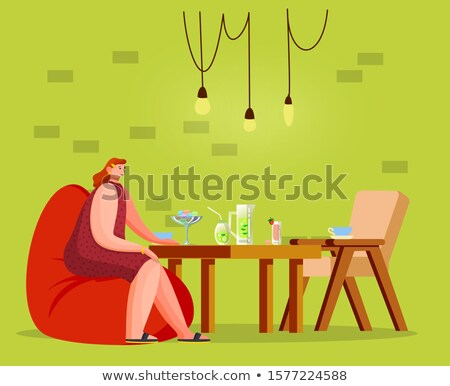 Female Sitting with Cocktail in Coffeehouse Vector Stock photo © robuart