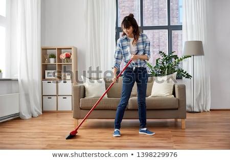 Asya kadın süpürge zemin temizlik ev işi Stok fotoğraf © dolgachov