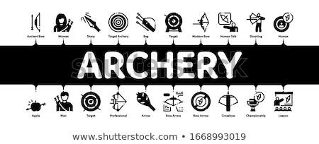 Tiro al arco actividad deporte mínimo infografía banner Foto stock © pikepicture