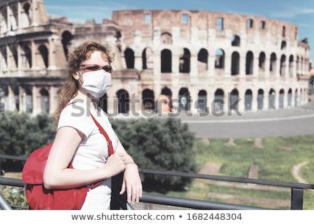 туристических женщину лицом маске Колизей Рим Италия Сток-фото © AndreyPopov