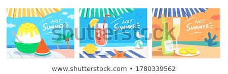 Summer vacation flat banner template Stock photo © barsrsind