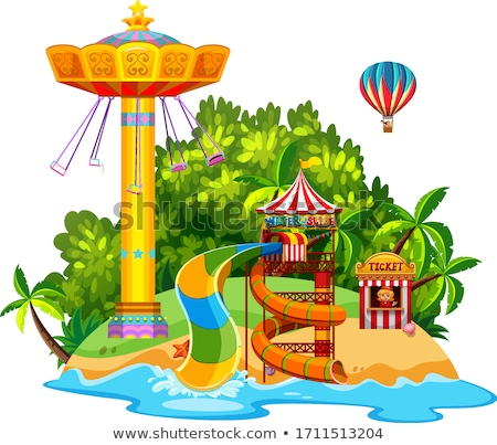 Stock photo: Scene with giant swing and waterslide on the island