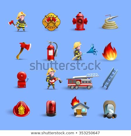 Vector brandweerman geïsoleerd witte Rood Stockfoto © dashadima
