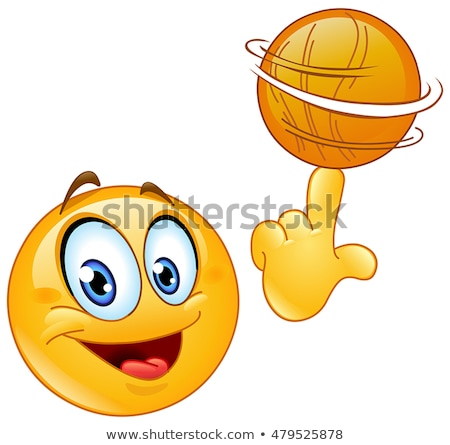 мяча смайлик баскетбол пальца улыбка лице Сток-фото © yayayoyo